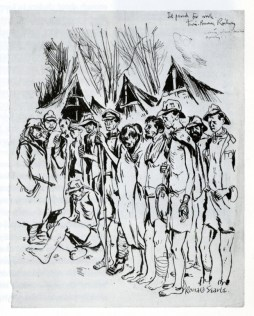 Drawing of prisoners parade before starting work