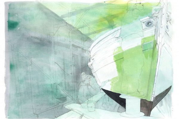 Drawing of the hull of Freja and the first green coat of paint being applied