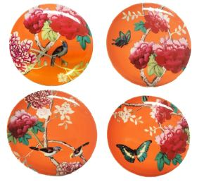 Side Plates set of 4 Orange Bird