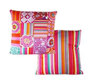 Velvet Cushion Square Summer in Pink and Orange 50 cm with insert