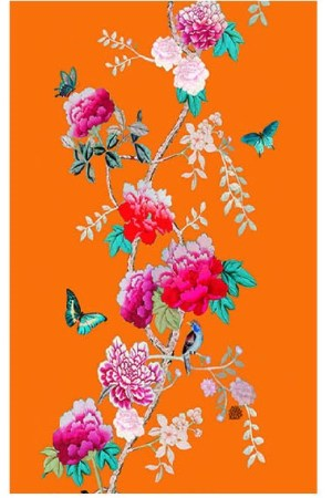 Cotton Tea Towel Orange with pink peonies and birds