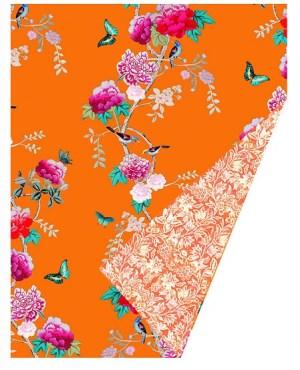 Velvet Throw Blanket - Orange Birds - 180 x 40 cm