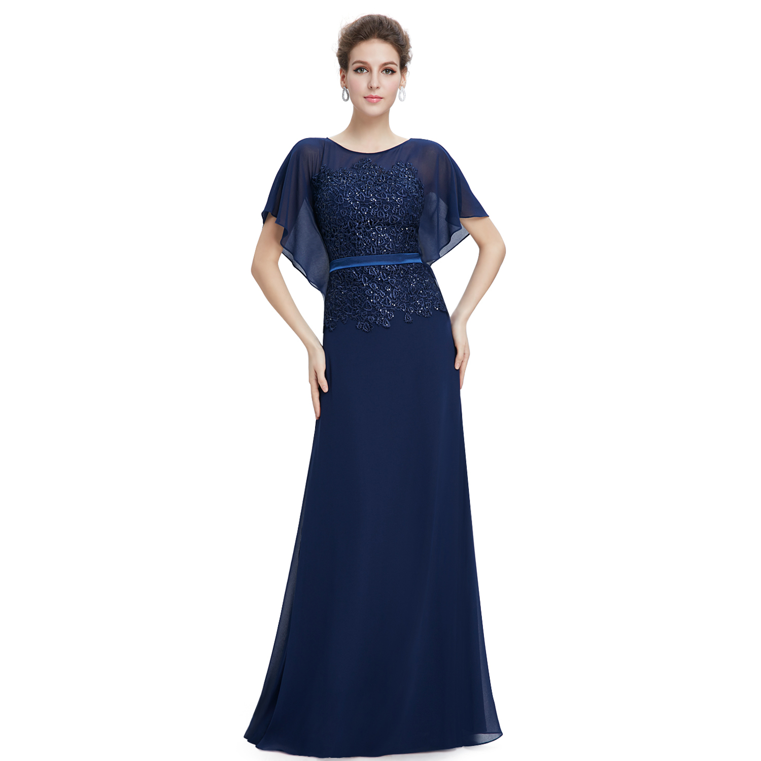 Ever Pretty US Women's Long Navy Blue Formal Prom Dress