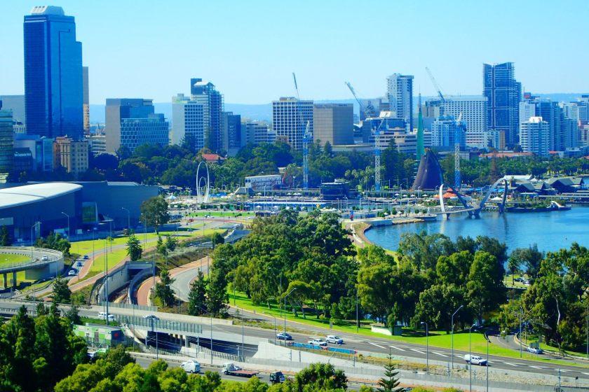 Perth City, widok z Kings Park, Western Australia