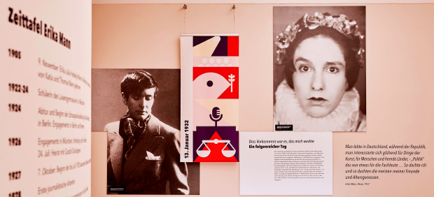 big images of Erika Mann on the walls of the exhibition