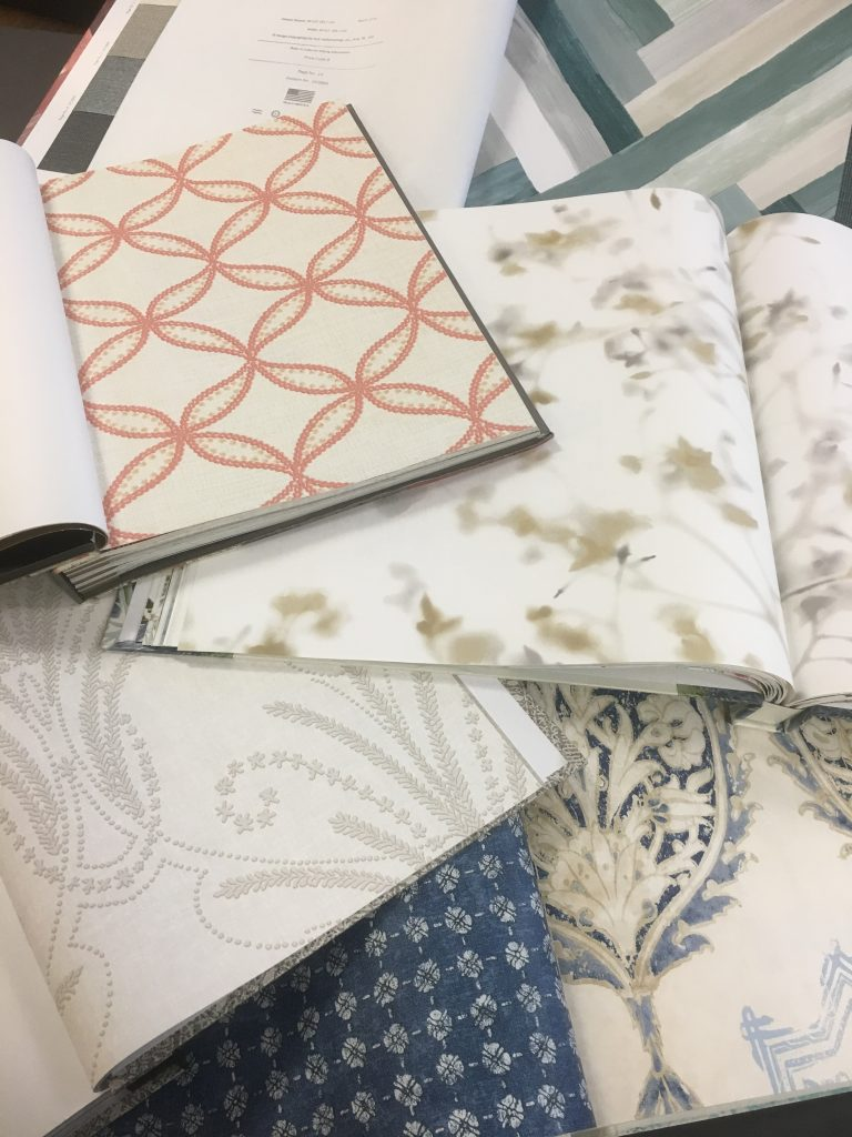 These papers are from York wallpaper books Modern Art (pattern #UC3830), Williamsburg Vol III (pattern #GS6253), Outdoors In (pattern #ON1609), ...