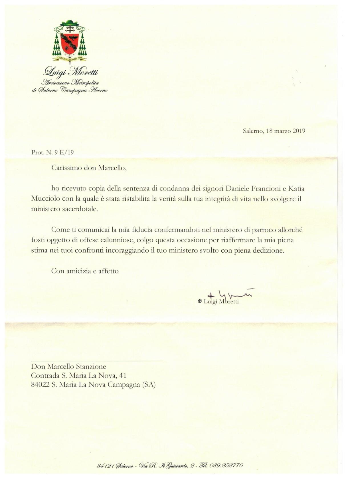 lettera vescovo caso don Marcello Stanzione