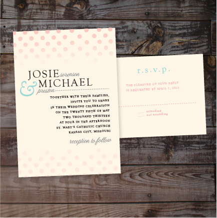 Modern Polka Dot Wedding Invitations Ombre Invites Formal Unique Announcements Anna Malie Design In Love Studio