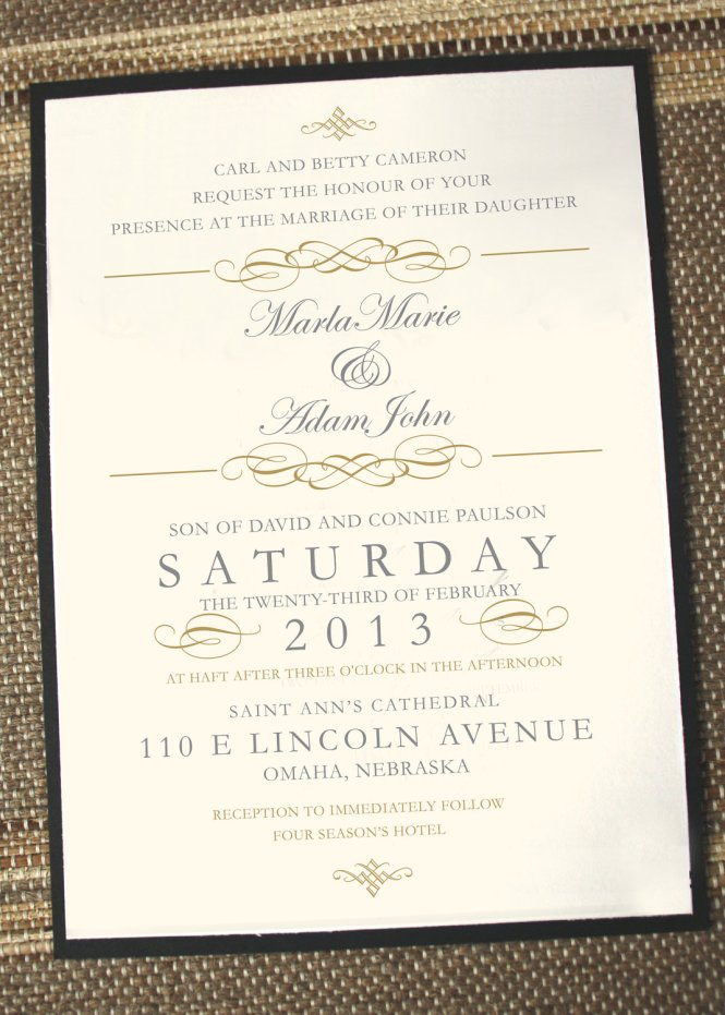 Vintage Elegant Wedding Invitation Gold Formal Unique Invites Invitations By Anna Malie Design In Love Studio