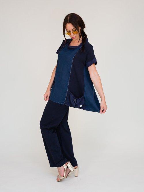 blusa il lino e cotone blu