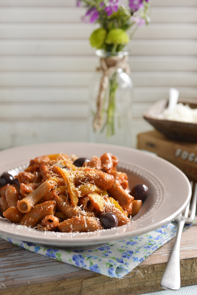 Rye Macaroni served with a Piquanté Pepper & Olive Sauce