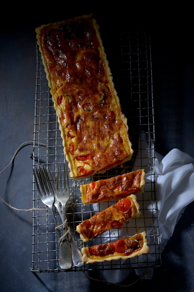 Caramelised Tomato, Sour cream and Gruyère Tart