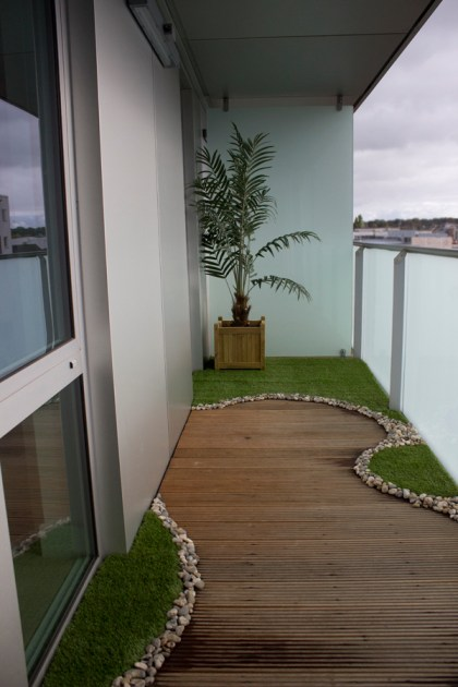 Our own mini balcony garden complete with palm tree and grass.