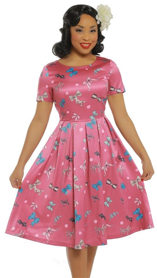 Lindy Bop Elodie pink bow print swing dress