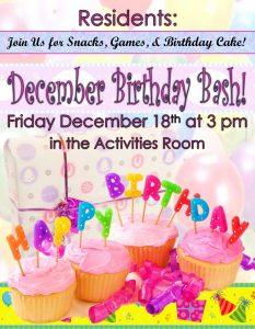 assisted living birthday party flyer