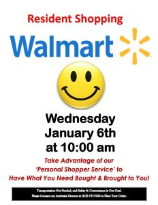 assisted living walmart shopping trip flyer