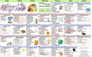 april assisted living resident activity calendar