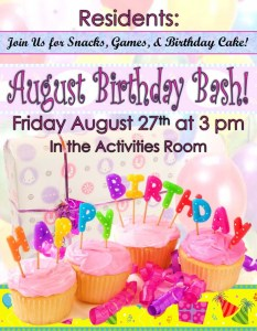 annapolis assisted living birthday flyer