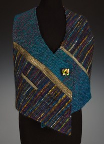 Collage vest using rigid heddle loom by Bonnie Kay