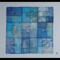 """""""Pools of Light"""" by Jill Ault Pieced Silk Organza with Beads & Foil Wall Hanging 12"""" x 12"""" www.jillault.com"""
