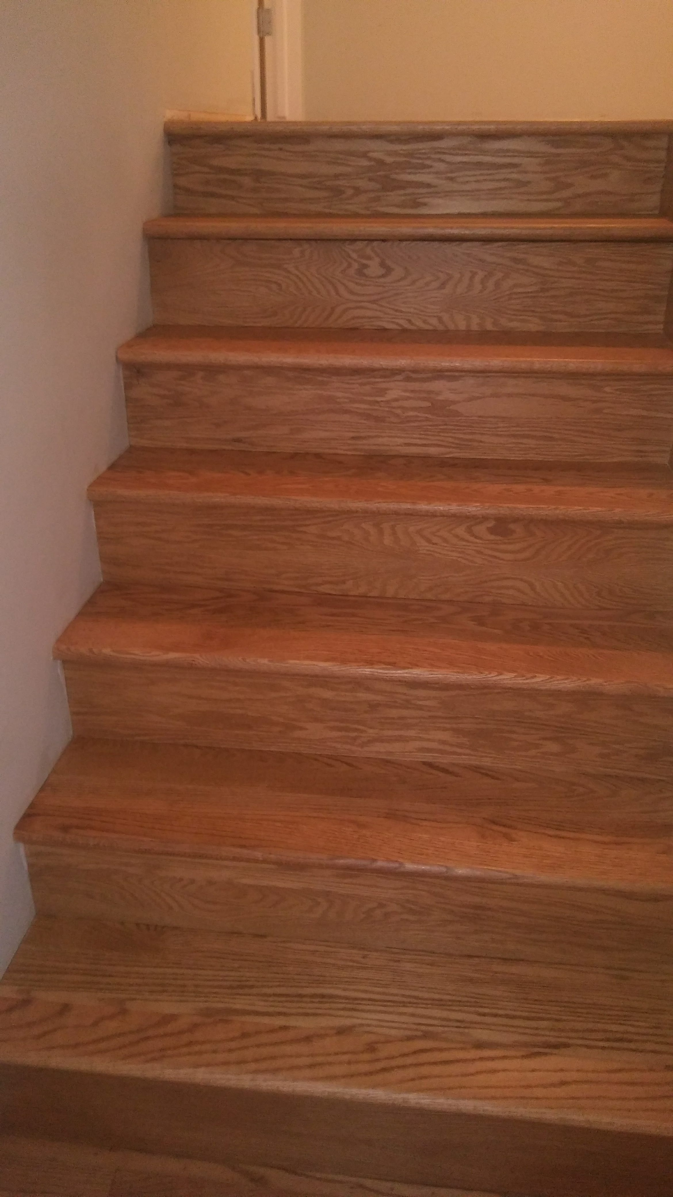 New Treads And Risers Golden Oak Stain On Red Oak – Hardwood Floor   Red Oak Stair Risers   Stair Tread   Stair Parts   Flooring   Stain   Modern Retro