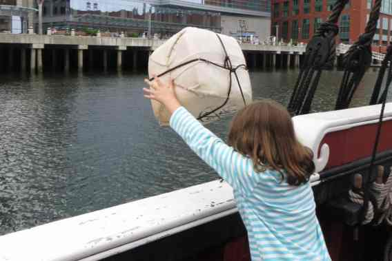 Boston Trip Report - Boston Tea Party Ship - Throwing Tea in Harbor