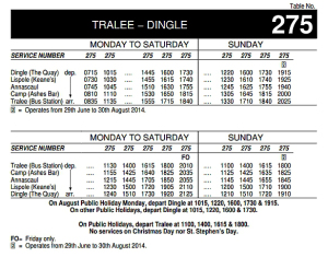Transport time table for buses from dingle and tralee
