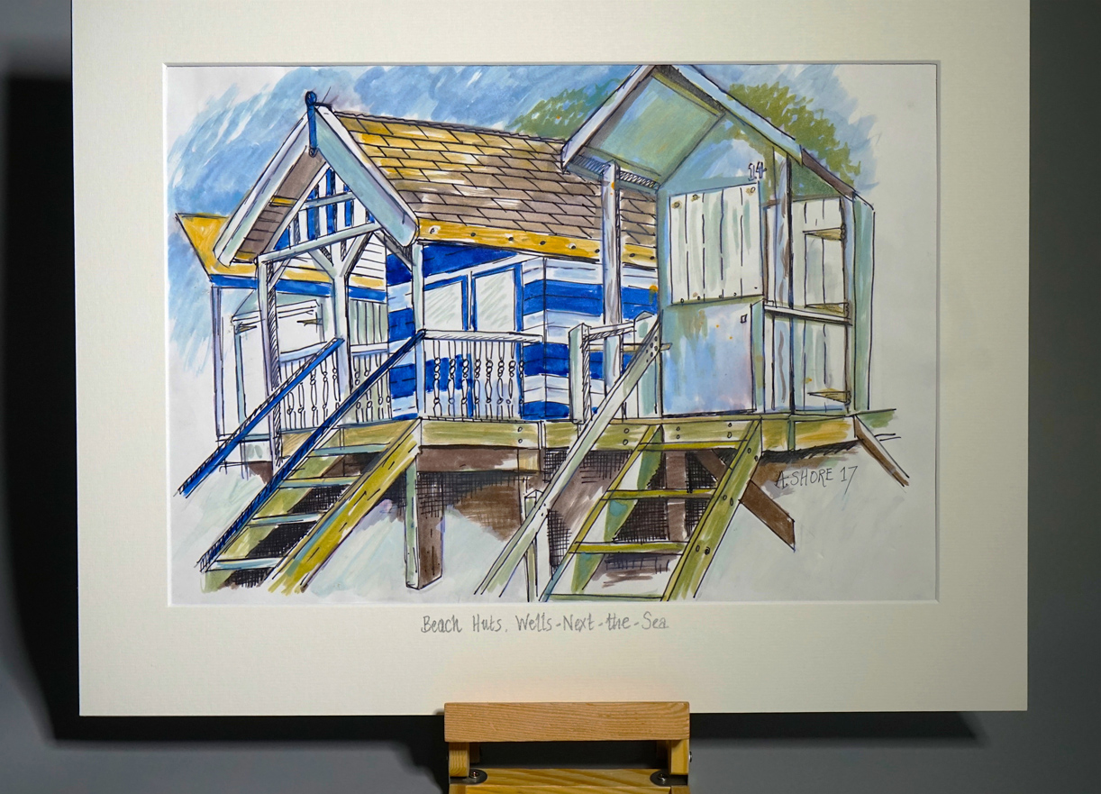 Beach huts Wells-next-the-Sea sketch