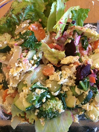 Duck egg scramble salad