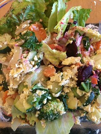 Duck egg scramble salad