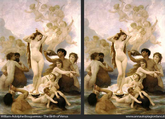 """The Birth of Venus"" Bouguereau's original (left) and Anna Utopia's version (right)"