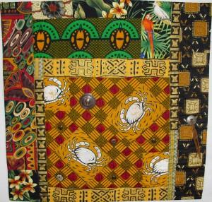 "Birch Trees in Autumn fabric art quilt, 26"" x26"""