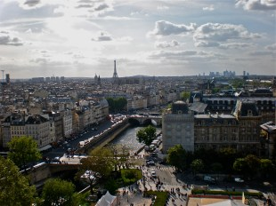 from the bell tower of Notre Dame, Paris