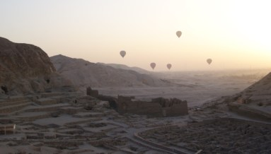 Hot air balloon rides take tourists over the many sites of the West bank, including Deir el-Medina.