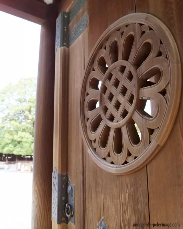 door detail at the meiji shrine in tokyo