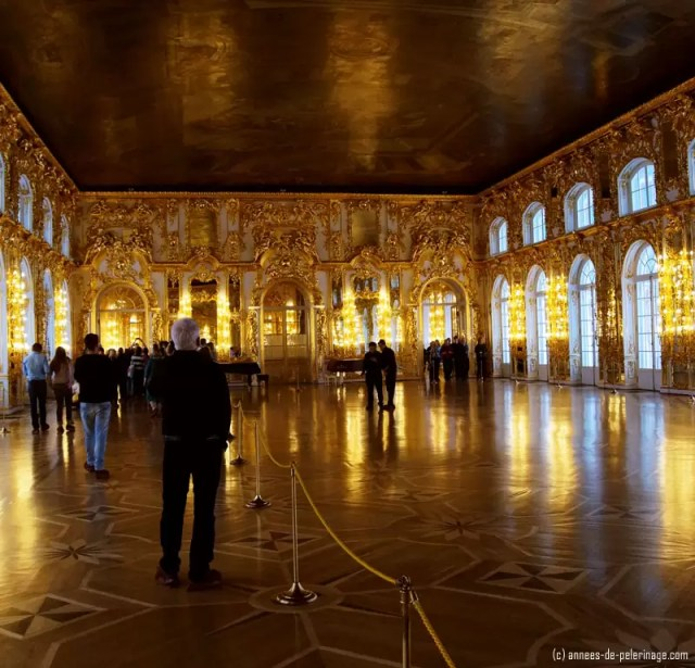 The grand ball room of the catherine palace in St. Petersburg