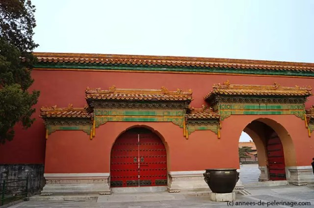 Red gates of the Palace of Tranquil Longevity in the Forbidden City in Beijing