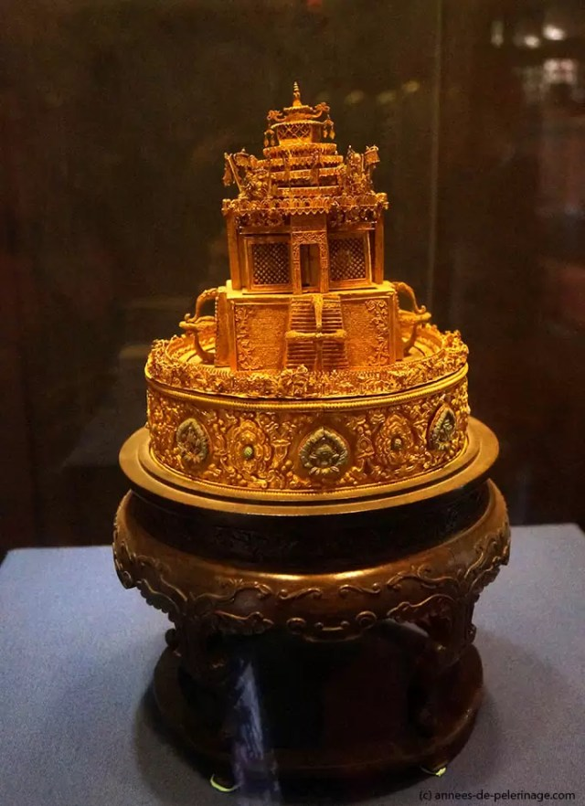 Ornage Golden crown of the Chinese emperors in the palace museum beijing