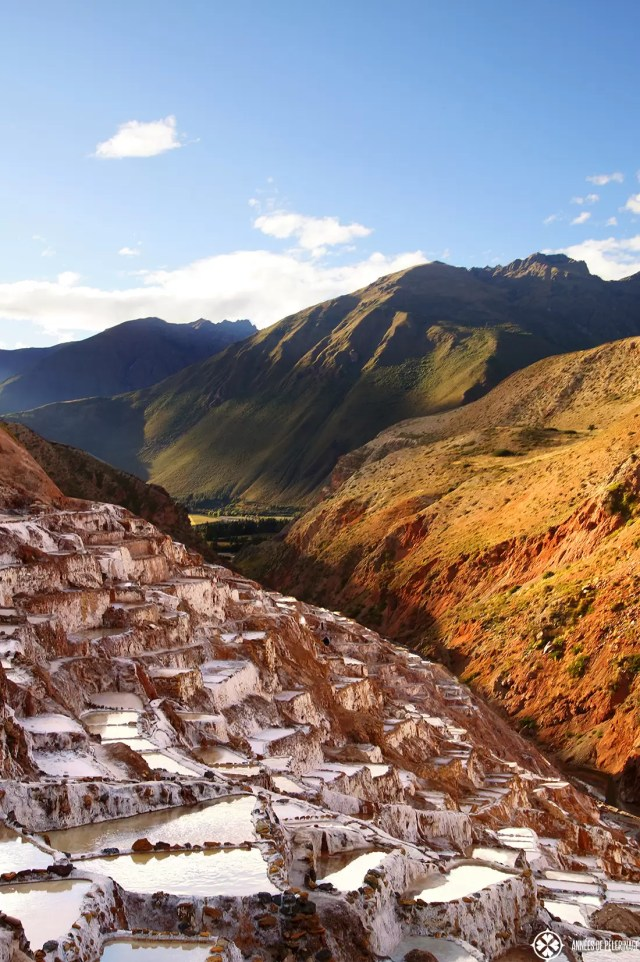 The Maras salt mines are an ancient inca site in the sacred valley f Peru