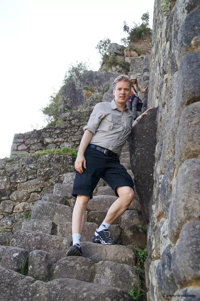 Me climbing the stairs of death down from wayna picchu - so scarry