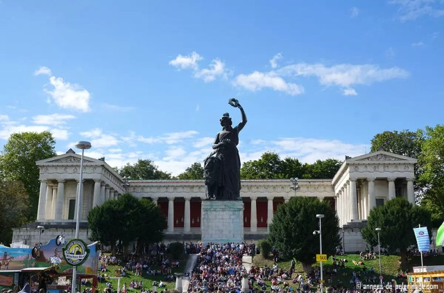 the bavaria statue overlooking the oktoberfest in munich