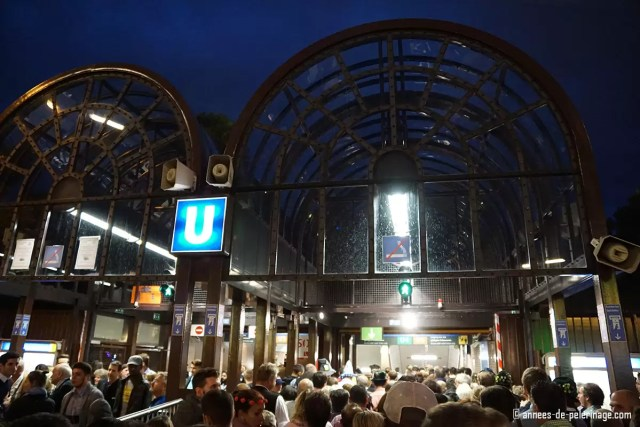 the crowded subway at theresienwiese oktoberfest in the evening