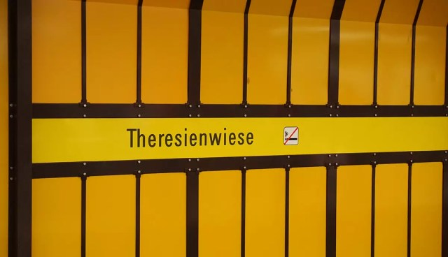 The subway sign of theresienwiese oktoberfest