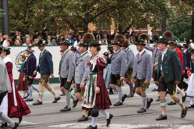 The famous trachtenumzug held around oktoberfest in munich - a street parade full of brass bands and customary attire