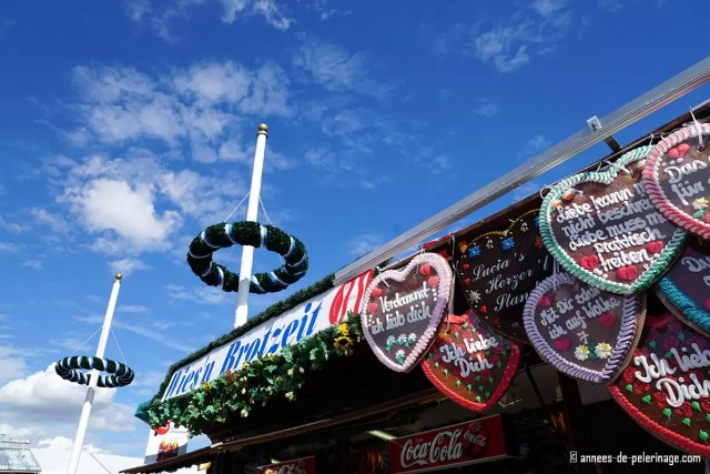 Traditional gingerbread hearts sold at a booth at oktoberfest munich