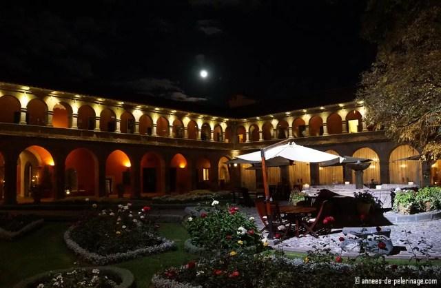 The Belmond Monasterio luxury hotel in Cusco Peru at night