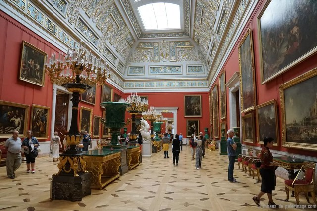 The overwhelmingly rich interiors of the Hermitage Museum inside the old winter palace in St. Petersburg, Russia