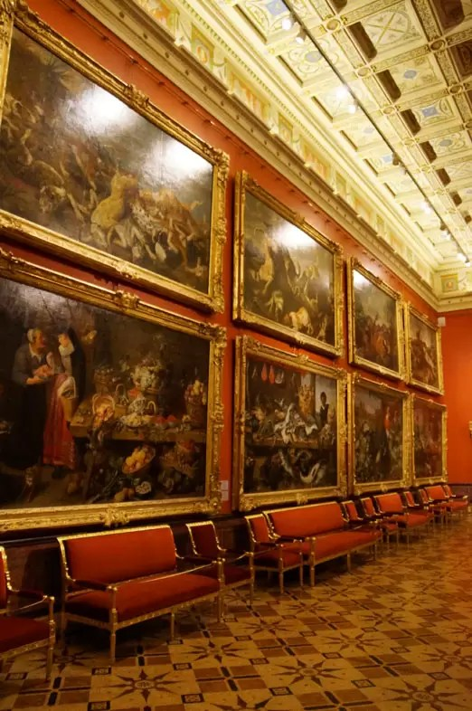 One of the rooms where huge paintings side by side are on display in the Hermitage