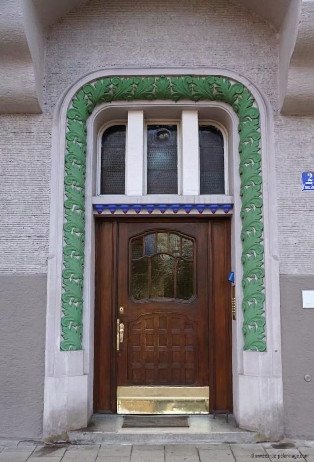 Art Nouveau door at Franz-Joseph-Strasse 2 in Munich