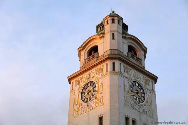 The Art Nouveau clock tower of a public bath in Munich